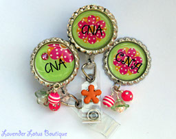 CNA in Brites-retractable, badge, reel, id, CNA, nurse, bling, Swarovski, crystal, rhinestone, fun, gift, nurse, brite, beads, hospital, badge reel, id reel, CNA badge reel, fun badge reel, retractable badge reel, retractable id reel, bead bundle