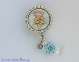 Nurses are Angels in Scrubs-retractable, badge, reel, id, nurse, bear, scrubs, gift, Swarovski, crystal, rhinestone, bling, fun, fun retractable badge reel, nurse retractable badge reel, hospital, healthcare, nurse gift