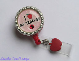 I Love My Teacher-retractable, badge, reel, id, teacher, gift, school, Swarovski, crystal, rhinestone, bling, apple, red, gift, fun, retractable badge reel, retractable id reel, teacher gift, fun badge reel