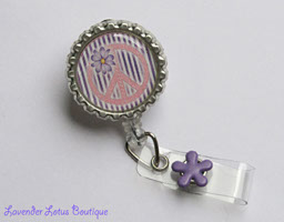 Purple Peace-retractable, badge, reel, id, bling, glitter, flower, purple, peace sign, nurse, doctor, medical, teacher, healthcare, gift, fun