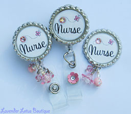 Sweet n' Simple Nurse Sentiment-retractable, badge, reel, id, classic, nurse, credentials, Swarovski, crystal, rhinestone, gift, fun, beads, bling, retractable badge reel, fun badge reel, retractable id reel, credentials strap, credentials badge reel, pin, clutch back pin