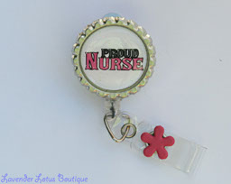 Proud Nurse-retractable, badge, reel, id, bling, glitter, nurse, medical, gift, credential holder, retractable badge reel, retractable id reel, retractable badge holder , fun badge reel, fun retractable badge reel, nurse gift