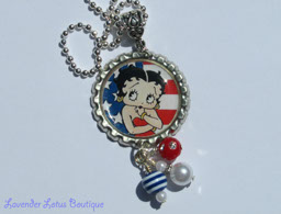 Betty Boop-Betty Boop, bottlecap, necklace, silver, ballchain, bead bundle, beads, red, white, blue, bling beads, jewelry, bottlecap jewelry, bottlecap necklace, Betty Boop bottlecap necklace, Betty Boop necklace, silver ballchain necklace, patriotic Betty Boop necklace, gift, birthday gift, Betty Boop gift, bottlecap necklace gift