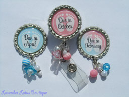 Personalized Baby Due Month-retractable, badge, reel, id, baby, due, gift, personalized, pink, blue, pin, beads, retractable badge reel, retractable id reel, retractable id holder, badge reel, id reel, id holder, personalized badge reel, personalized id reel, baby due date badge reel, baby due month id reel, baby due month pin, personalized baby due month pin, personalized baby due month badge reel, beaded badge reel, beaded id reel, beaded pins, baby gift, new baby gift, expecting Mommy gift
