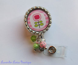 Brite Pink and Green Posie-retractable, badge, reel, id, credentials, posie, brite, pink, green, fun, beads, bling, crystal, lucite, retractable badge reel, retractable id reel, retractable id holder, badge reel, id reel, credentials holder, id holder, fun badge reel, beaded badge reel, beaded id reel, beaded id holder, crystal beads, bling beads, lucite beads, unique badge reels, fun badge reels, fun id reels, nurse gifts, nurse badge reels, nurse id reels, teacher gifts, teacher badge reels, teacher id reels, office gifts