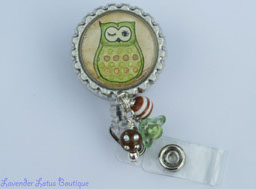 Little Green Hoot Owl-retractable, badge, reel, id, reel, beads, bling beads, lucite beads, crystal beads, lucite flower beads, acrylic beads, bead bundle, id pull, credentials holder, credentials strap, owl badge reel, owl theme, owl id reel, owl retractable badge reel, fun badge reels, fun retractable badge reels, bottlecap badge reel, bottlecap id reel, bottlecap id pull, beaded badge reel, beaded retractable badge reel, cute badge reel gift, fun badge reel gift, teacher gift, colleague gift, office gift, medical gift