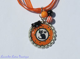Black Cat Halloween Necklace with Beads-necklace, bottlecap, cat, black cat, Halloween, orange, beaded, bottlecap necklace, Halloween necklace, black cat necklace, beaded Halloween necklace, spider necklace, handmade necklace, custom necklace, unique necklace, holiday necklace, kids necklace, kids jewelry, fun necklaces, unique necklaces, bling beads, acrylic beads, Halloween gift
