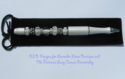 National Lung Cancer Partnership Lampwork Bead Pen III-lampwork, bead, pen, white, donation, charity, lung cancer, national, partnership, crystal, rondelle, silver plated, lung cancer lampwork bead pen, exclusive lung cancer pen, lampwork bead pen, lung cancer awareness, limited edition