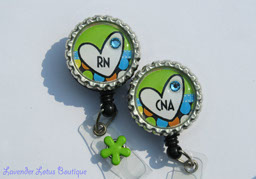 RN or CNA in Brite Green-retractable, badge, reel, id, holder, credentials, lanyard, id reel, badge reel, id holder, credentials holder, retractable badge reel, retractable id reel, retractable id holder, retractabble credentials holder, RN badge reel, CNA badge reel, nurse badge reels, Swarovski crystal rhinestone badge reels, nurse gift, medical gift, medical badge reel, medical id reel, fun badge reel, fun id reel, unique badge reel, bottlecap badge reel