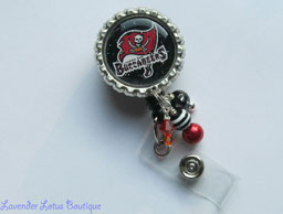 Tampa Bay Buccaneers Inpired-retractable, badge, reel, id, holder, credentials,Tampa Bay, Buccaneers, football, beads, retractable badge reels, retractable id reel, retractable id holder, badge reels, id reels, id holders, credential holders, football badge reels, football id reels, football id holders, team badge reels, team id reels, sports badge reels, sports id reels, beaded badge reels, beaded id reels, beaded badge holders, cute badge reels, fun badge reels, custom badge reels, beaded id reels, cute id reels, fun id reels, customer id reels, Swarovski crystal beads, lucite beads, acrylic beads, metallic beads, nurse badge reels, medical badge reels, teacher badge reels, hospital badge reels, office badge reels, uniform badge reels, badge reel gifts