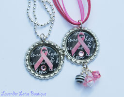 Love & Hope Pink Ribbon in Black-necklace, gift, awareness, breast cancer, pink, black, silver, ballchain, bottlecap, hot pink, support, breast cancer awareness necklace