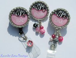 Personalized Hot Pink and Zebra Print-retractable, badge reel, id reel, id pull, personalized, pink, zebra print, Swarovski crystal, Swarovski rhinestone, pin, jewelry, personalized gift, fun badge reel, personalized badge reel, medical, business, gifts, fun gifts