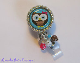 Big Eyed Hoot Owl on Blue-retractable, badge, id, owl, beads, bottlecap, reel, badge reel, id reel, badge holder, id holder, id badge reel, badge reel lanyard, retractable badge reel, retractable id reel, owl badge reel, beaded badge reel, teacher gift, nurse gift, office gift, unique badge reel, fun badge reels