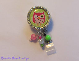 Brite Green with Hot Pink Hoot Owl-retractable, badge, reel, id, owl, nurse, medical, doctor, office, teacher, gift, beads, retractable badge reel, retractable id reel, retractable id pull, retractable id holder, owl badge reel, owl id reel, owl id pull, nurse gift, teacher gift, office worker, office id pull, unique badge reels, fun badge reels