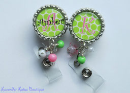 Personalized Pink and Green Pop-retractable, badge, reel, id,lucite beads, acrylic beads, crystal beads, resin beads, beads, credentials, personalized, bottlecap, alphabet, pink, green, initial, medical, teacher, conference, office, fun badge reel, fun personaized badge reel, name pull, retractable badge reel, personalized badge reel, personalized id reel, personalized id holder, bright pink and green badge reel