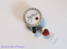 Inspire-retractable, badge, reel, id, teacher, nurse, red, bling, heart, gift, school, medical, hospital, Swarovski, crystal, rhinestone, retractable badge reel, retractable id reel, nurse gift, teacher gift