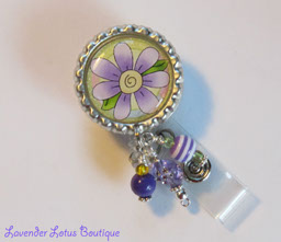 Lovin' That Lavender-retractable, badge, reel, id, flower, lavender, beads, retractable badge reel, retractable id reel, retractable id holder, id badge reel, badge reels, badge reel lanyard, flower badge reel, beaded badge reel, designer badge reel, unique badge reel, fun badge reel, badge reel gifts, handcrafted badge reels, made in the USA, nurse badge reel, office badge reel, teacher badge reel