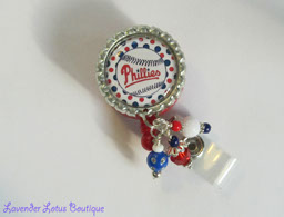 Phillies Gone Girly-retractable badge reel, retractable id reel, badge reels, id reels, badge holder, baseball team, Phillies, beaded badge reel, sports badge reel, girly badge reels, nurse, office worker, teacher, education, gifts, badge pull, id pull, unique badge reels,beaded badge reels, fun badge reels