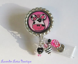 Pink Moo Cow-retractable, badge, reel, id, holder, lanyard, nurse, teacher, office, staff, gift, fun, unique, cow, beads, retractable badge reel, retractable id reel, pink cow id badge reel, beaded badge id reel lanyard, fun id reel, fun badge reels, unique badge reels, badge reel lanyard, badge reel id lanyard gifts, nurse gifts, teacher gifts, happy gifts, stocking stuffers, friendship gift