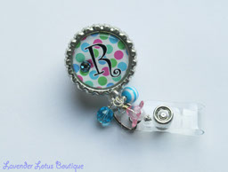 Personalized Polka Dot Pop w/Bead Bundle-personalized, retractable, badge, reel, id, credentials, fun, bling, blue, pink, Swarovski, crystal, rhinestone, gift, beads, monogram, initial, personalized retractable badge reel, retractable id real, retractable id holder