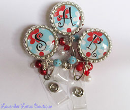 Blue and Red Flower Power-retractable, badge, reel, id, beads, crystal, Swarovski, bling, pearl, red, blue, flower, nurse, teacher, personalized, gift, office, retractable badge reel, retractable id reel, retractable reel, id badge, credentials holder, Swarovski crystal, bling beads, personalized badge reel,