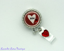 RN's Have Heart-heart, red, badge reel, badgereel, idreel, id badge reel, RN, nurse, retractable, Swarovski, crystal, rhinestone, gift, special, medical, crecentials, retractable badge reel, retractable badgereel, retractable id reel, cardiac care, cardiac care nurse