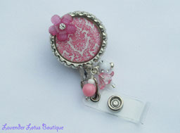 White with Pink Damask-retractable, badge, id, holder, reel, pull, classic, shabby chic, unique, designer, damask, pink, beaded, retractable badges, retractable ids, retractable pulls, retractable badge reels, retractable id reels, retractable badge pulls, fun badge reels, unique badge reels, damask badge reels, designer badge reels, beaded badge reels, nurse badge reels, office badge reels, teacher badge reels, gifts, nurse gifts, teacher gifts, office gift, beaded gifts, specialty gifts