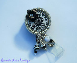 White with Black Damask-retractable, badge, reel, id, holder, damask, black, white, beads, flower, rhinestones, bling beads, silver, findings, dimensional, fun, unique, gift, nurse, office, school, teacher, hospital, retractable badge reel, retractable id reel, dimensional badge reel, damask badge reel, beaded badge reel, fun badge reels, unique badge reels, nurse badge reels, teacher badge reels, office badge reels, unique id reels, unique id holders, victorian badge reel, shabby chic badge reel