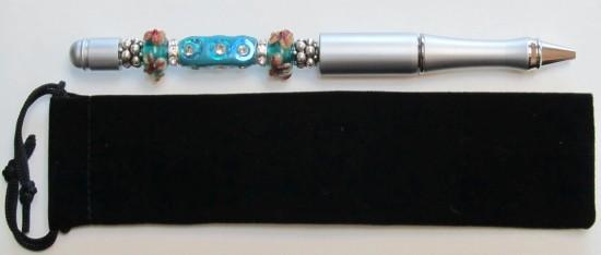 Funky Blue Bling-Blue,bling,rhinestone,silver,pens,pen,gift,rondelle,black,ink,lampwork,funky,velvet.