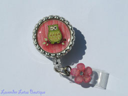 Pretty Pink w/Green Hoot Owl-retractable, badge, reel, id, credentials, owl, pink, flower, lucite, retractable badge reel, fun badge reel, owl retractable badge reel, retractable id reel, owl themed gift, cute retractable badge reel, cute badge reel, cute id holder, owl id holder, nurse gift, teacher gift, office worker gift