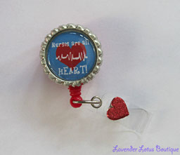 Nurses are All Heart-retractable, badge, reel, id, heart, nurse, cardiac, red, glitter, gift, hospital, retractable badge reel, retractable id reel, cardiac nurse, cardiac nurse gift, nurse gift,