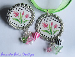 Spring Tulip Necklace and Pin Combo-spring, tulips, pink, necklace, ribbon, ballchain, pin, swarovski crystals, acrylic swirl beads, lucite flowers, bead bundles, beads, gifts, Mother's Day, Easter, bottlecap necklace, bottlecap, silver, green, tulips, tulip bottlecap necklace, necklace and pin combo