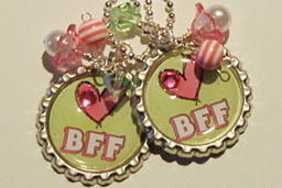 PAIR of BFF Necklaces-BFF,necklace,bottlecap,ball,chain,silver,swarovski,crystals,pearls,white,lucite,flowers,ribbon,pink,acrylic,beads