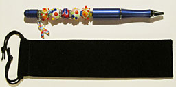 Autism Awareness Beadpen-Autism,Awareness,beadpen,metallic,blue,glass,lampwork,beads,silver,charm,puzzle,primary,colors,ink,black,yellow,support,research,cure,gift,support